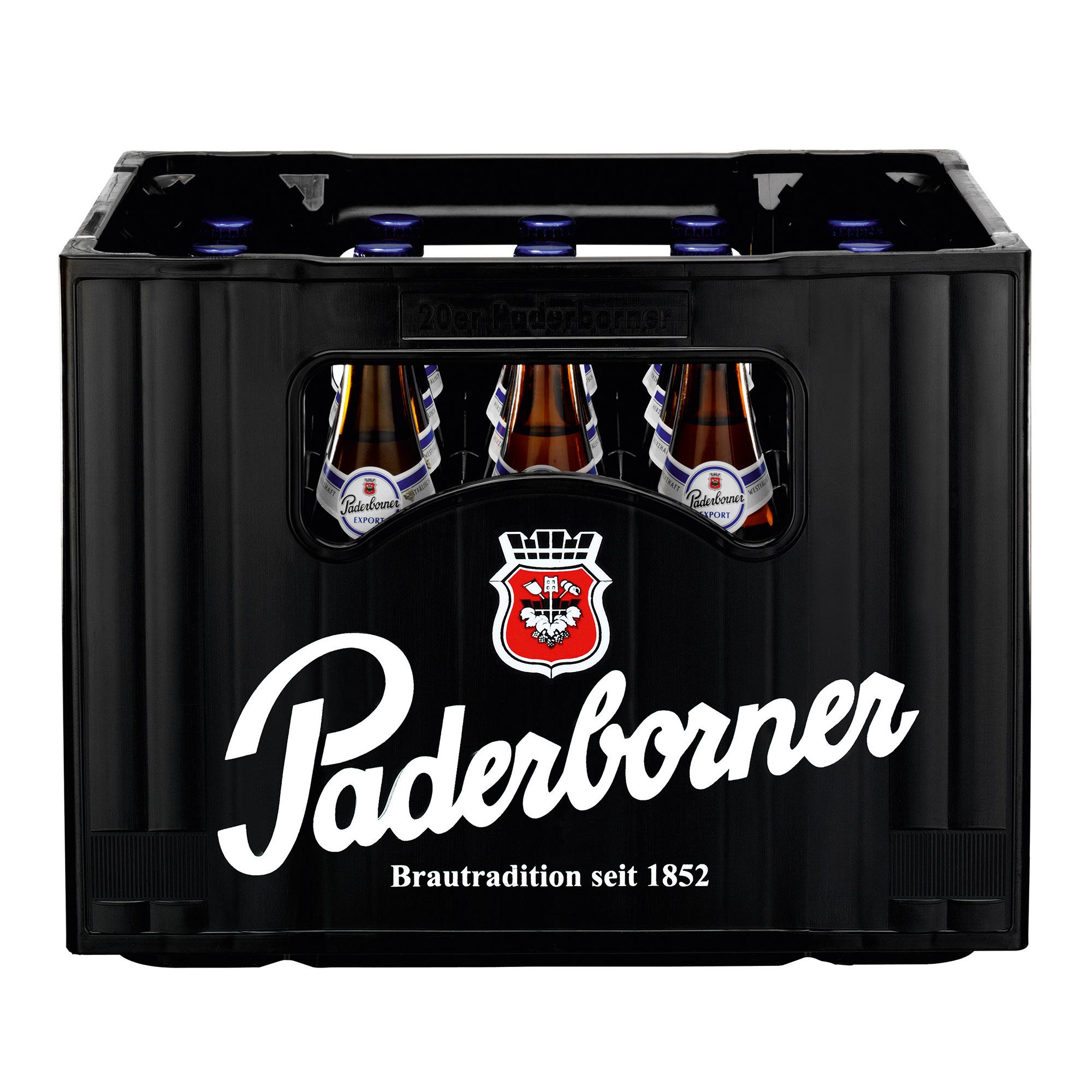 Produktabbildung Paderborner Export Kasten 20 x 0,5 l frontal