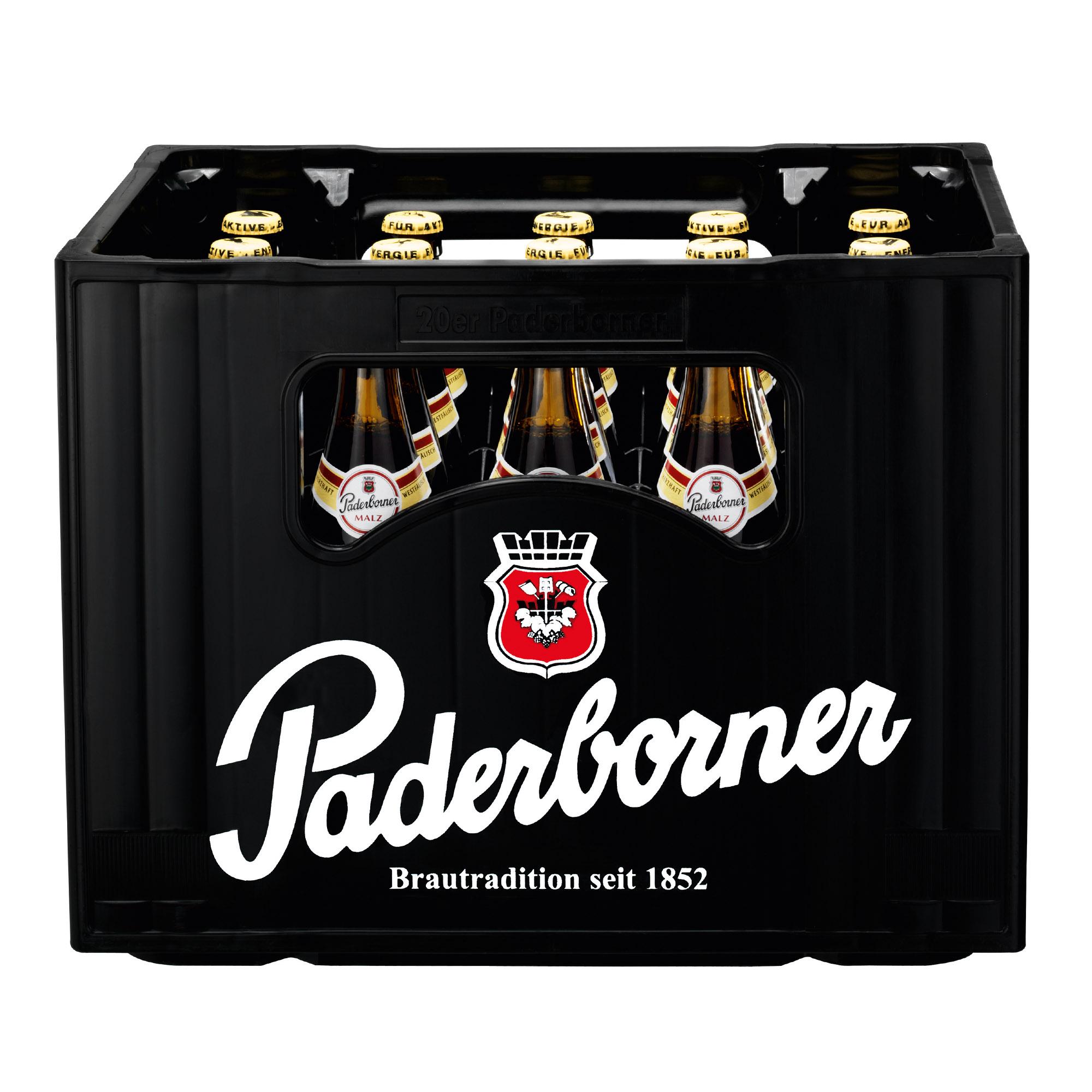Produktabbildung Paderborner Malz Kasten 20 x 0,5 l frontal