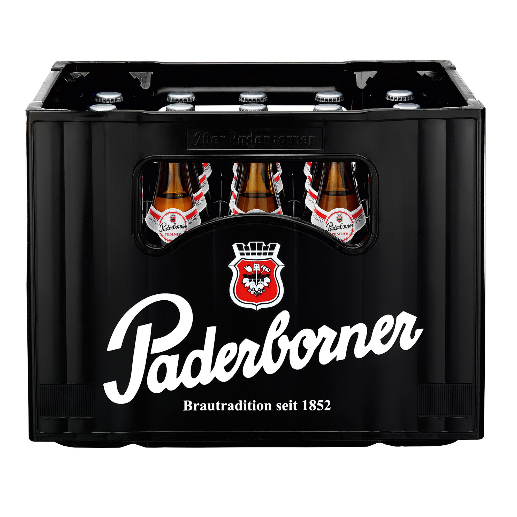 Produktabbildung Paderborner Pilsener Kasten 20 x 0,5 l frontal