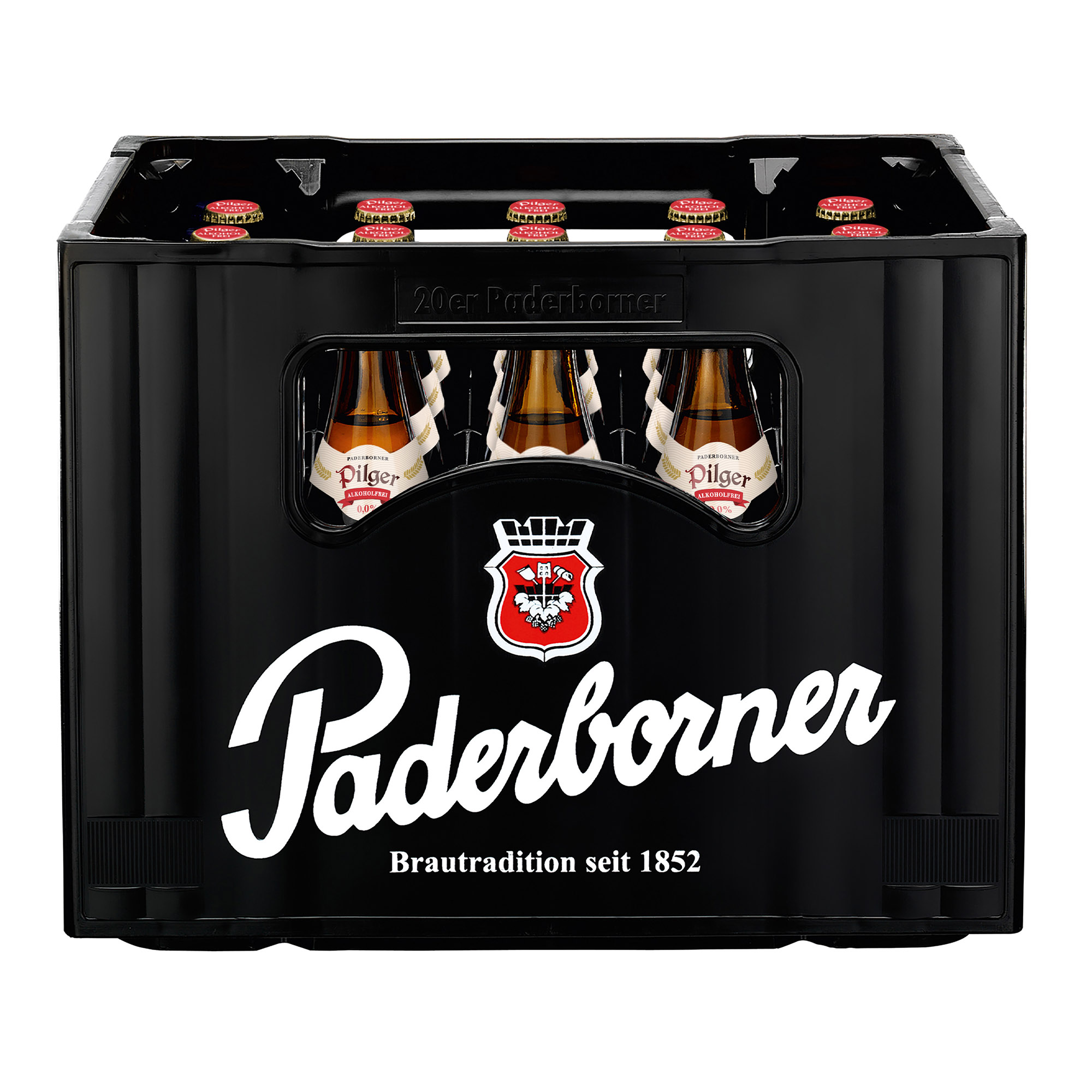 Produktabbildung Paderborner Pilger Alkoholfrei Kasten 20 x 0,5 l frontal